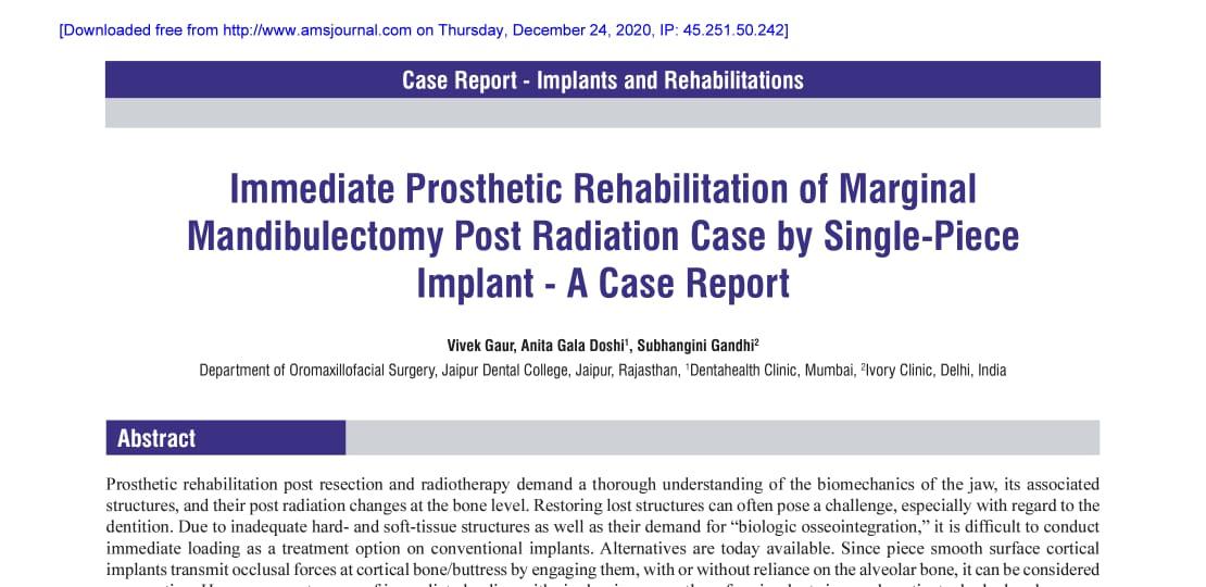 Immediate Prosthetic Rehabilitation of Marginal